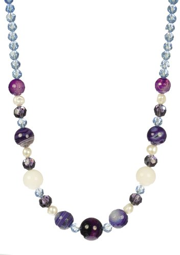 Purple Agate and Glass with Freshwater Cultured Pearls Sterling Silver Necklace 18