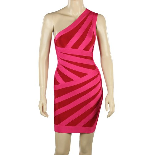 DAPENE Woman/Lady Knee-length One-shoulder Sheath Fashion Party Bandage Dress Red Size L