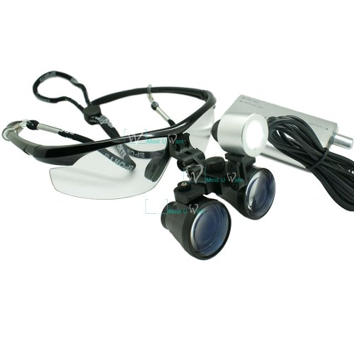 Dental Lab Surgical Medical Binocular Eye Loupe Glass 2.5X Amplification Magnifier With Led Headlight
