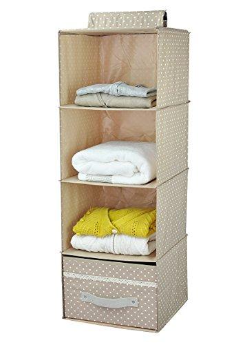 4 shelf hanging closet organizer with drawer dealtrend. Black Bedroom Furniture Sets. Home Design Ideas