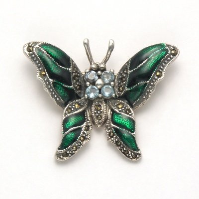Marcasite with Blue Topaz Butterfly Pin