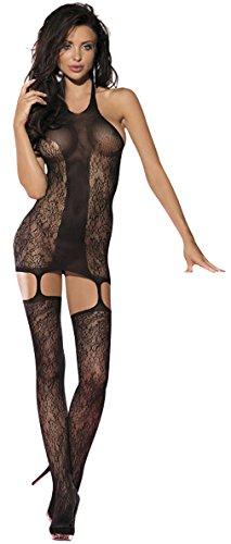 jowiha® Sexy Straps Netz Bodystocking Neckholder Catsuit im Flower Look
