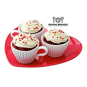 Buy One Get One Free - Ramini Brands Best White Teacup - Bonus Recipes - Cupcake Muffin Silicone Liner Mold Bake And Serve Quiche Cups Candy Mats