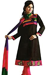 Kamal Women's Cotton Black Embroidered Dress Material