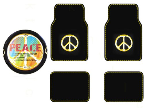 A Set of 4 Universal Fit Peace Sign Symbol Yellow Plush Carpet Floor Mats and 1 Comfort Grip Steering Wheel Cover