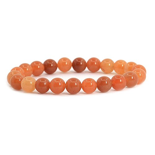 Natural Orange Aventurine Gemstone 8mm Round Beads Stretch Bracelet 7