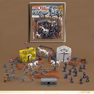 72 Piece Civil War Plastic Army Men Play Set ~ 52mm Union and Confederate Figures, Bridge, Horses, Canon, More!