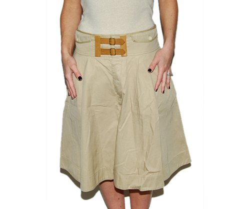 Polo Ralph Lauren Cotton Leather Long Skirt Khaki 4