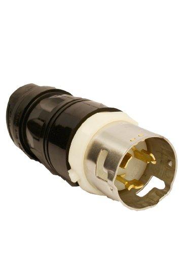 Leviton Cs8165C 50Amp, 3-Phase 480V Ac, Non-Nema, 3P, 4W, Black & White Locking Plug, Industrial Grade, Grounding, California-Style(Cs) ? Black-White