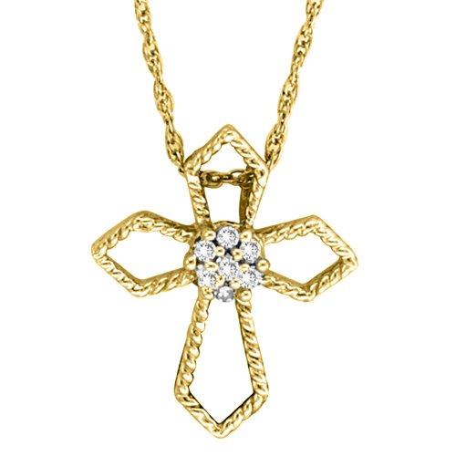 10K Yellow Gold 0.04 ct. Diamond Cross Pendant with Chain
