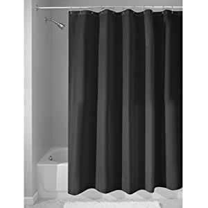 Interdesign Mildew Free Water Repellent Fabric Shower Curtain Long 72 Inch By 84 Inch Black