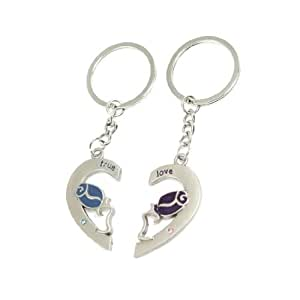 Lovers Purple Blue Rose In Heart Pendant Metal Keychain Keyring Decor