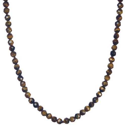 4mm Faceted Tiger-Eye Long Bead Necklace, 50