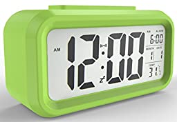 Gloue Digital Alarm Clock Battery Operated- Kids\' Room Clock-temperature Display-snooze and Large Display-smart Night Light - Battery Operated Alarm Clock and Home Alarm Clock.(green)