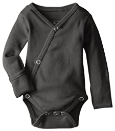 L\'ovedbaby Unisex-Baby Organic Cotton Kimono Long Sleeve Bodysuit, Gray, 0/3 Months