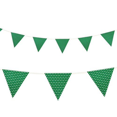 Creative Converting Paper Flag Banner with Polka Dots, Green