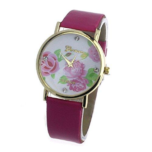 Zps(Tm) 1Pc Women Girl Leather Flower Pattern Wrist Watch Quartz Watch (Hot Pink)