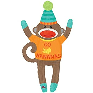 """Go Bananas"" Party Sock Monkey Hat Blue Green Yellow Orange 42"" Balloon Mylar"