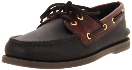 Sperry Authentic Original 2-Eye, Scarpe da Barca Uomo, Nero (Schwarz/Amaretto), 42 M