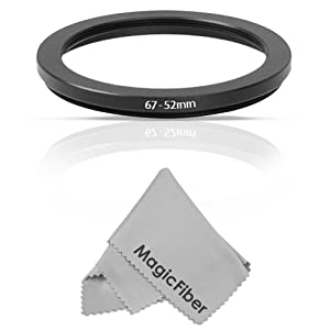 Goja 67-52mm Step-Down Adapter Ring (67mm Lens to 52mm Accessory) + Premium MagicFiber Microfiber Lens Cleaning Cloth