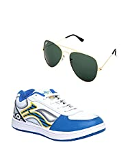 TS-1_Wht-Rblue Stylish Sport Shoes With Sunglass Combo