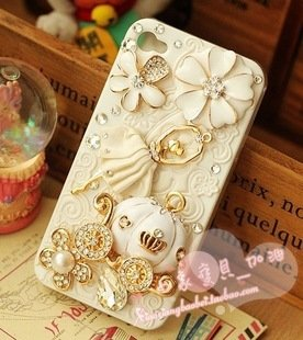 Great Price VL Bling Iphone 5 Case - 3d Bling Iphone 5 Cover - Fairy Tale - Cinderella and Pumpkin Cart-ivory