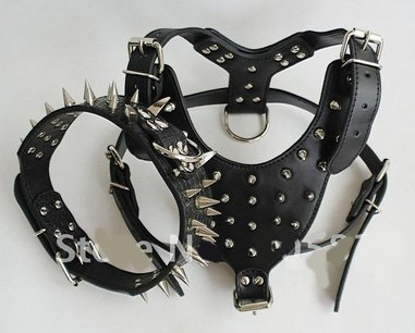 New Spiked&Studded Leather Dog Collar and dog Harness set for Pitbull Mastiff color black size M