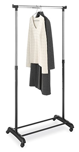 Whitmor Adjustable Clothes / Garment Rack, Black & Chrome (Coat Hanger Stand compare prices)