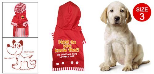 Cute Red Winter Warm Pet Puppy Dog Apparel Hoodies Jackets Coats Shirts Size 3 front-599072
