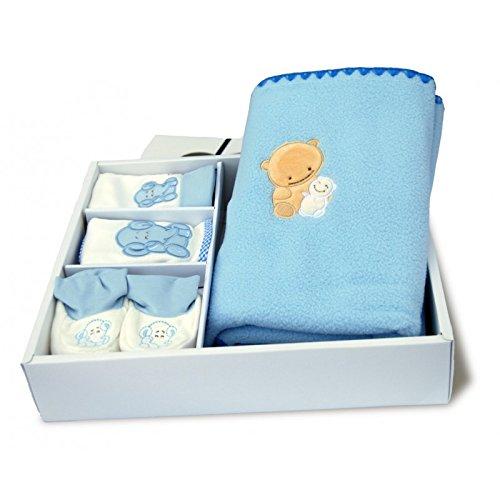 Cofanetto regalo di nascita nuovo nato bambino Plaid in pile berretto Bavaglino Pantofole baby-bow Blu
