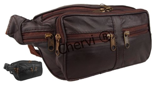 Unisex Large Leather Bumbag Bum Waist Hip Bag (Brown/Black)