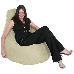 Gilda Gaming Beanbag Bean Bag Recliner Faux Suede CREAM Chair by Gilda td