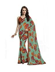 Vipul Krrisha Green Floral Printed Saree With Attached Border