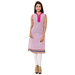 GET READY TO DANCE INTO THE TUNE OF MONSOON WITH THIS JAIPUR ATTIRE COTTON PRINTED KURTIS PERFECT FOR CASUAL WEAR IN THREE DIFFERENT COLOURS PINK /GREEN /PURPLE, COVER KNEES, SLEEVELESS, WITH V-NECK AND CHINA COLLAR WITH SIDE CUT FROM WAIST,WEAR IT WITH PINK /ORANGE /PURPLE LEGGINGS OR CHUDIDAAR.