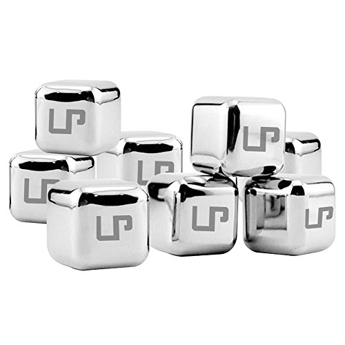 LP Whiskey Stones,Stainless Steel Ice Cubes Drink Coolers with Plastic Storage Box Tongs for Wine Soda,Best Premium Gift For Men,Set of 8(silver ) (Individual Drink Cooler compare prices)
