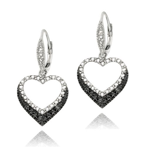 Sterling Silver Black Diamond Accent Open Heart Dangle Leverback Earrings