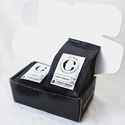 Find CRU Kafe Light Roast - Organic, Ethical Nespresso® Compatible Capsules. An artisanal blend of light roasted Ethiopian, Peruvian and Mexican Arabicas. by CRU Kafe
