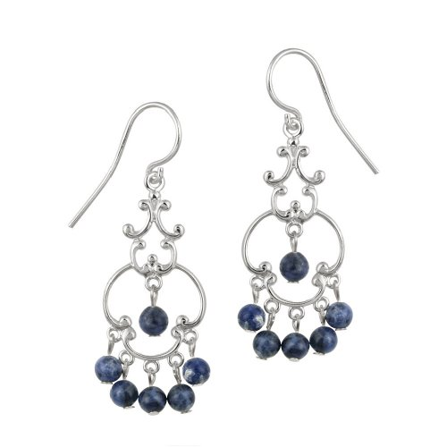 Sterling Silver Fancy Linear Drop French Wire Earrings with 6 Round Sodalite Drops