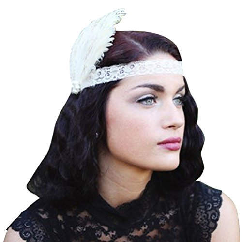 Emust Women's Vintage 1920s Lace Feathers Charleston Flapper Headpiece White Size One Size