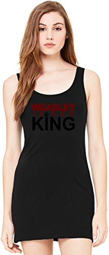 Weasley Is Our King Harry Potter Tunica Smanicata Bella Basic Sleeveless Tunic Tank Dress For Women| 100% Premium Cotton| Small