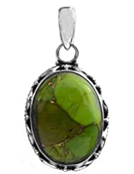Exotic India Green Mohave Turquoise Pendant - Sterling Silver - B00K27C2KC