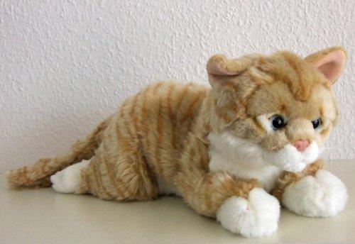 liegende rotgetigerte Katze, 35 cm Plüschkatze