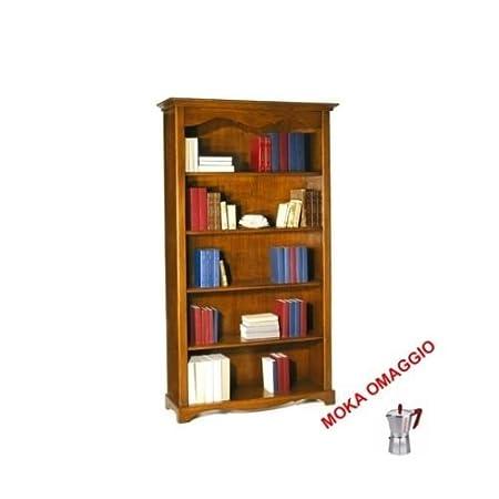 CLASSICO libreria noce 4 ripiani finitura in legno massello camera soggiorno 514 120x40x210