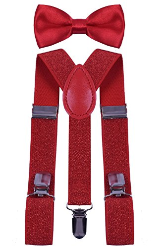 BODY STRENTH Kids Boys Girls Suspenders Strong Clips With Bow tie Set 1_Red (Glitter Suspenders)