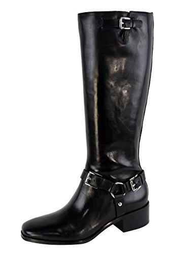 Michael Kors Mk Harrison Harness Riding Boot Black/Silver Leather Tall Shoe
