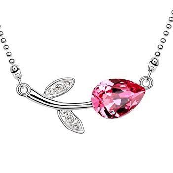 Pink Color Swarovski Element Austrian Crystal Lovely Rose Flower Necklace sale 2015