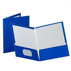 Laminated High-Gloss 2-Pocket Report Cover Portfolio, Letter Size, Blue, 25/Box ESS51701