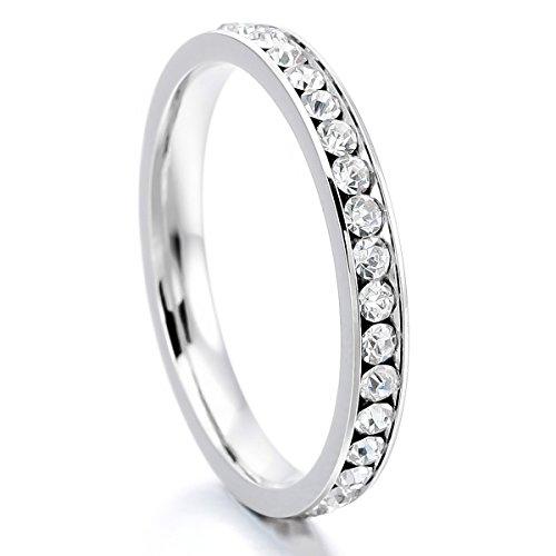 MunkiMix Acciaio Inossidabile Eternità Anello Anelli Banda Zirconia Cubica Zircone Bianco Matrimonio Dimensioni 17 Donna