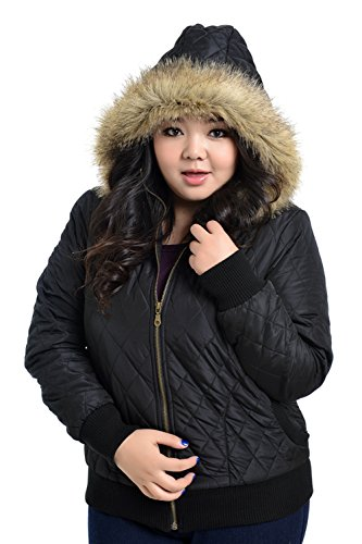 Mooncolour Womens Plus-Size Hooded Zipper Jacket Coat