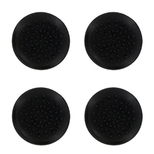 4 x Assecure black TPU silicone rubber gel analogue thumb grip stick caps for Sony PS4 controllers [Playstation 4]